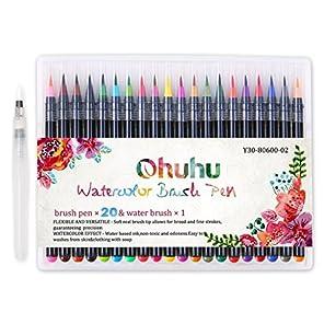 Ohuhu 水彩毛筆 水性 水彩筆 筆ペン カラーペン 塗り絵 画筆 絵用 20色セット 収納ケース付き