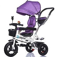 4-in-1子供用三輪車のスポーツバージョンキッドトロリープッシュハンドル自転車、アンチUV日よけと親ハンドル付き| 1-3-6歳の少年と少女のために|ロータリー席|アルミ合金製3輪(ホワイトバイク) ( 色 : パープル ぱ゜ぷる , サイズ さいず : A )