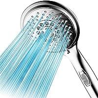 AquaSpa WaterSense 認定 高圧8設定 5インチ BIG-face 雨/手持ち式シャワー。 より多くのパワー、20% 少ない水! ON/OFFスイッチ、非常に長い6フィートのステンレススチールホース、ブラケット、すべてクロム仕上げ。