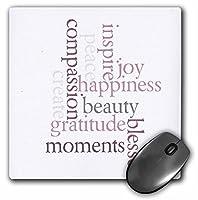 3drose LLC 8x 8x 0.25インチInspiring Words Gratitudeマウスパッド( MP _ 23657_ 1)