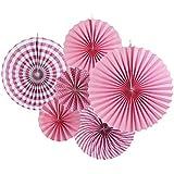 ペーパーファン ペーパー飾り付け  扇フラワー 扇子 6個セット 3つサイズ  (ピンク)