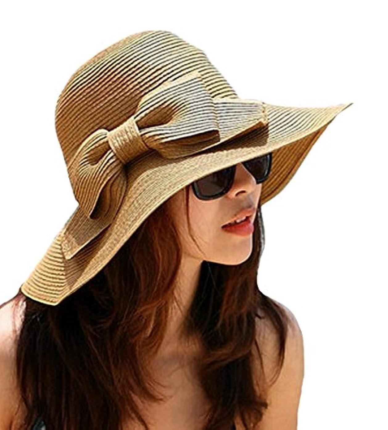 ローズ蓄積する遅らせるAisa 折りたたみ式 蝶結びリボン 垂れたつばの麦わら帽子 レディース ワイドなつば ビーチ サンバイザー 帽子 キャップ