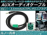 AP AUXオーディオケーブル 6ピン ルノー汎用 iPhone/MP3プレイヤーなどの使用に! AP-EC068