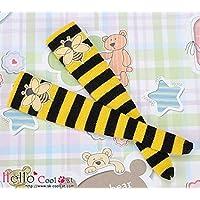 CoolcatブライスプーリップサイズBees Border Knee High Socks ks-p26ブラック~ Yellow With印刷