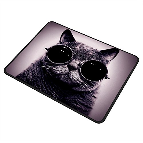 i mall GIM マウスパッド レーザー&光学式マウス対応 マウス パッド おしゃれ 滑り止め PC ラップトップ MacBook pro DELL HP SAMSUNG などに ブラック(27x22x0.5cm) (眼鏡ネコ)