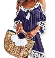 Nicellyer 女性の肩非対称裾マクラメの特大のチュニックトップカットアウト Purple M