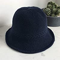 HENGTONGTONGXUN Ms. Wild Autumn and Winter Hat Knitted Hat Korean Version of Casual Wool Cap Foldable Hat Literary Tide Simple and Practical Product (Color : Navy, Size : Adjustable)