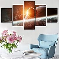 WZYWLH インテリアリビングルームの壁絵キャンバスポスターフレームワーク5パネル宇宙惑星風景アート絵画家モジュラーhdプリント