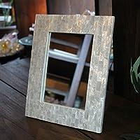【アジアン雑貨】 鏡 卓上ミラー カピスシェル スタンドミラー 壁掛け鏡 ホワイト