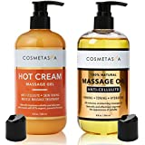 Anti-Cellulite Massage Oil & Hot Cream - 100% Natural Cellulite Treatment with Gel & Oil, Deeply Penetrates Skin to Break Dow