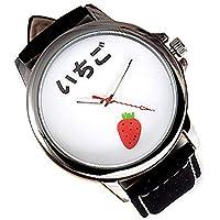 ZooooM おもしろ ウォッチ シンプル デザイン 文字盤 アナログ 腕 時計 ファッション アクセサリー ユニーク カジュアル メンズ レディース 男性 女性 (イチゴ:ホワイト) ZM-TABEMOJI-ITIWH