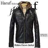 (ハルフレザー)Haruf Leather lur5bk メンズ シングル 本革 ダウンジャケット ライダースジャケット バイクジャケット ブラック