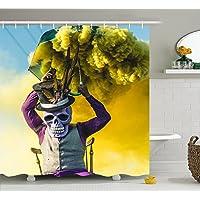 カラフルファンシーSmoking Skull Artポリエステル防水シャワーcurtain-bathroomアクセサリーセットサイズ69 x 84インチ
