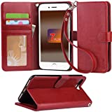 iphone 7 Plus ケース 手帳型 RoHS規格認定書を取得した iphone 7 Plus case スタンド機能付き マグネット内蔵 ストラップ付き アイホン7プラス カーバ 財布型 カードポケット付き (iphone 7 Plus ワインレッド)