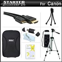 スターターアクセサリーキットfor the Canon PowerShot sx260HS , sx280HS , sx280hs , s120デジタルカメラはデラックス携帯ケース+ 50三脚with Case + Mini HDMIケーブル+ USB 2.0カードリーダー+ LCDスクリーンプロテクター+ミニ卓上三脚+マイクロファイバー布
