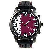 カタールの旗 - メンズブラックゼリーシリコーンの腕時計