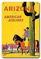 22cm x 30cmヴィンテージハワイアンティンサイン - アリゾナ州 - アメリカン航空 - 馬に乗ってライダー - サワロサボテン、アリゾナ州の州花 - ビンテージな航空会社のポスター によって作成された フレッド・ルーデケンス c.1960s