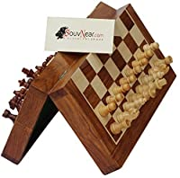 "10x10"" SouvNear Chess Set - Premium Folding Standard Magnetic Travel Chess Board Game Handmade in Fine Rosewood with"