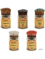 Wildberry Short Incense Sticks – Set of 5秋Fragrances – シナモン、エジプトムスク、インドMoon、Sensuality、バニラ(100各パック、合計500 Sticks)