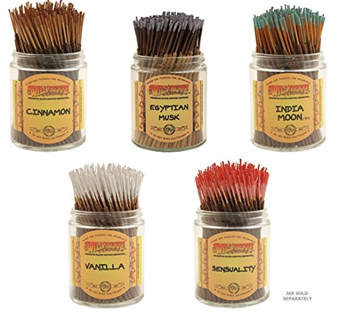 雹取り消すフックWildberry Short Incense Sticks – Set of 5秋Fragrances – シナモン、エジプトムスク、インドMoon、Sensuality、バニラ(100各パック、合計500 Sticks)
