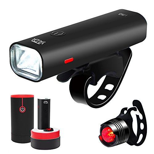 YATDA 自転車ライトUSB充電式 LEDヘッドライト 高輝度4モード対応 懐中電灯兼用 アルミ合金製 防水 防振 (ブラック)