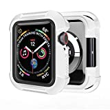 Humenn Case Compatible with Apple Watch Series 5 Series 4 44mm, Rugged Protective Case Shockproof Protector Bumper Cover for iWatch Series 4,5 - White/Black