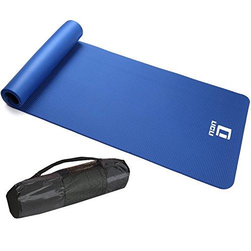 LICLI ヨガマット おりたたみ トレーニングマット エクササイズマット ヨガ ピラティス マット 厚さ 10mm 「 ストラップ 収納ケース付 」「 ニトリルゴム 滑り止め マットバッグ 」 7カラー (ブルー)
