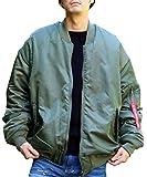 (エン) enn. メンズ リバーシブル オーバーサイズ 中綿 Ma-1 ジャケット オリーブ FREE