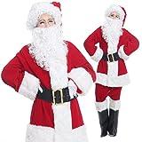 ハイクラス 本格 サンタクロース DX 衣装 クリスマス コスプレ コスチューム 10点セット ( ジャケット + ズボン + 帽子 + ウィッグ + ひげ + ウィッグネット + ベルト + 手袋 + メガネ + ブーツカバー ) a403