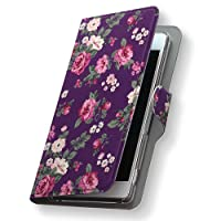 AQUOS PHONE SERIE mini SHL24 ケース カバー 手帳型 スマコレ レザー 手帳タイプ 革 SHL24 スマホケース スマホカバー アクオスフォン フラワー 004666 Sharp シャープ au エーユー 花 フラワー 紫 a-shl24-004666-nb