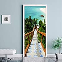Xbwy Pvc自己接着防水ドアステッカー3Dエーゲ海階段写真壁紙リビングルームの寝室の家の装飾壁紙用3 D-400X280Cm