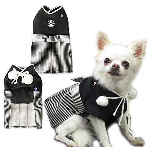 犬 猫 服 着物 袴 衣装 日本男児 Mサイズ 黒 七五三 ...