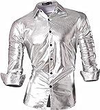 (ジーンズイアン)Jeansian 男性用 メンズ スリムフィット 長袖 カジュアル シャツ ワイシャツ Z036 Silver XXL