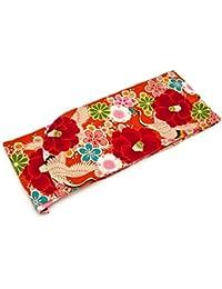 (ソウビエン) 袴用二尺袖着物 橙 オレンジ 赤 レッド 椿 梅 鶴 小振袖