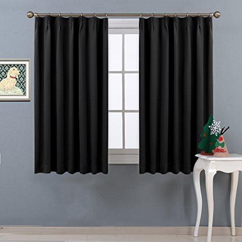 NICETOWN 遮光カーテン 2枚セット ブラック UVカット 遮光 目隠し 睡眠 幅100cm丈110cm