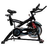 スピンバイク フィットネスバイク 肉厚サドル 静音 15kgホイール サスペンション搭載 美しいフォルム 小型 人間工学設計 ルームバイク LS-2000T ブラック(黒)