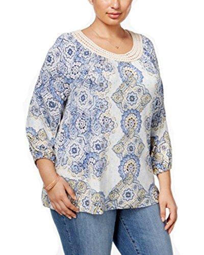 Style & Co Womens Plus Size Printed Crochet Trim Top Shirt 0X [並行輸入品]