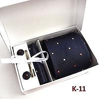 VAMIX(ウアミェ)ネクタイ ピン カフス ボタン チーフ 5点 ボックス 入り 結婚式 二次会 パーティー ギフト (K-11)