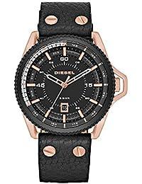 ディーゼルメンズdz1754Rollcageローズゴールドブラックレザー腕時計