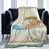 Blanket Funny Sloth Go On Vacation Beach Palm Tree Throw Blanket Soft Velvet Blanket Lightweight Bed Blanket Quilt Durable Home Decor Fleece Blanket Sofa Blanket Luxurious Carpet for Men Women Kids