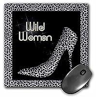 3drose LLC 8x 8x 0.25インチマウスパッド、シルバーチーター印刷Wild Woman StilettoポンプとBling ( MP _ 21802_ 1)
