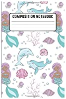 Composition notebook: Mermaid  Pattern Pretty Wide Ruled Animal School Going Student Note Book - Cute Black & White Exercise Book and Journal For Teens Kids Students Girls for Home School College for Writing Notes. Lined 100 pages - Size 6''x 9''