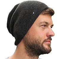 Grace Folly Slouch Beanie Hat for Men (Skull Cap) with Bonus Keychain (Many Colors)