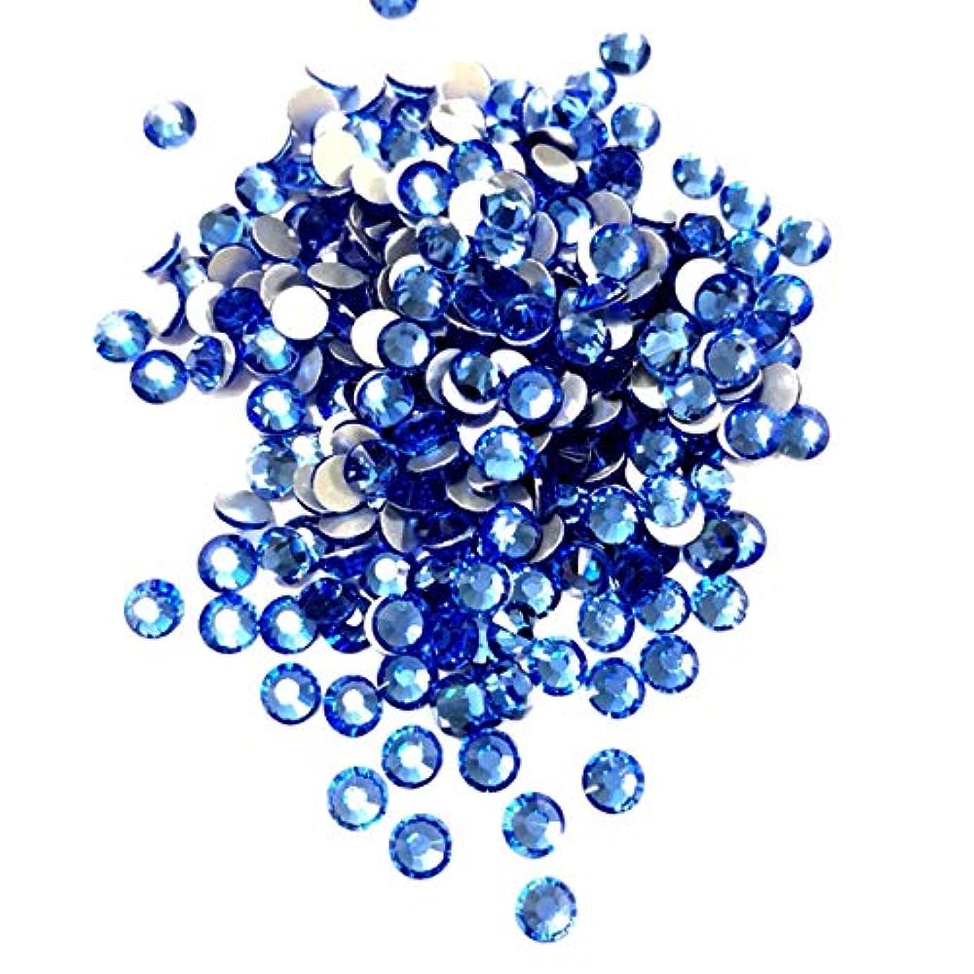 ヘッジ換気勤勉【ネイルウーマン】最高品質ガラスストーン!スワロ同等の輝き! ライトサファイア ブルー 水色 (約100粒入り) (ライトサファイア) (SS5, ライトサファイア)