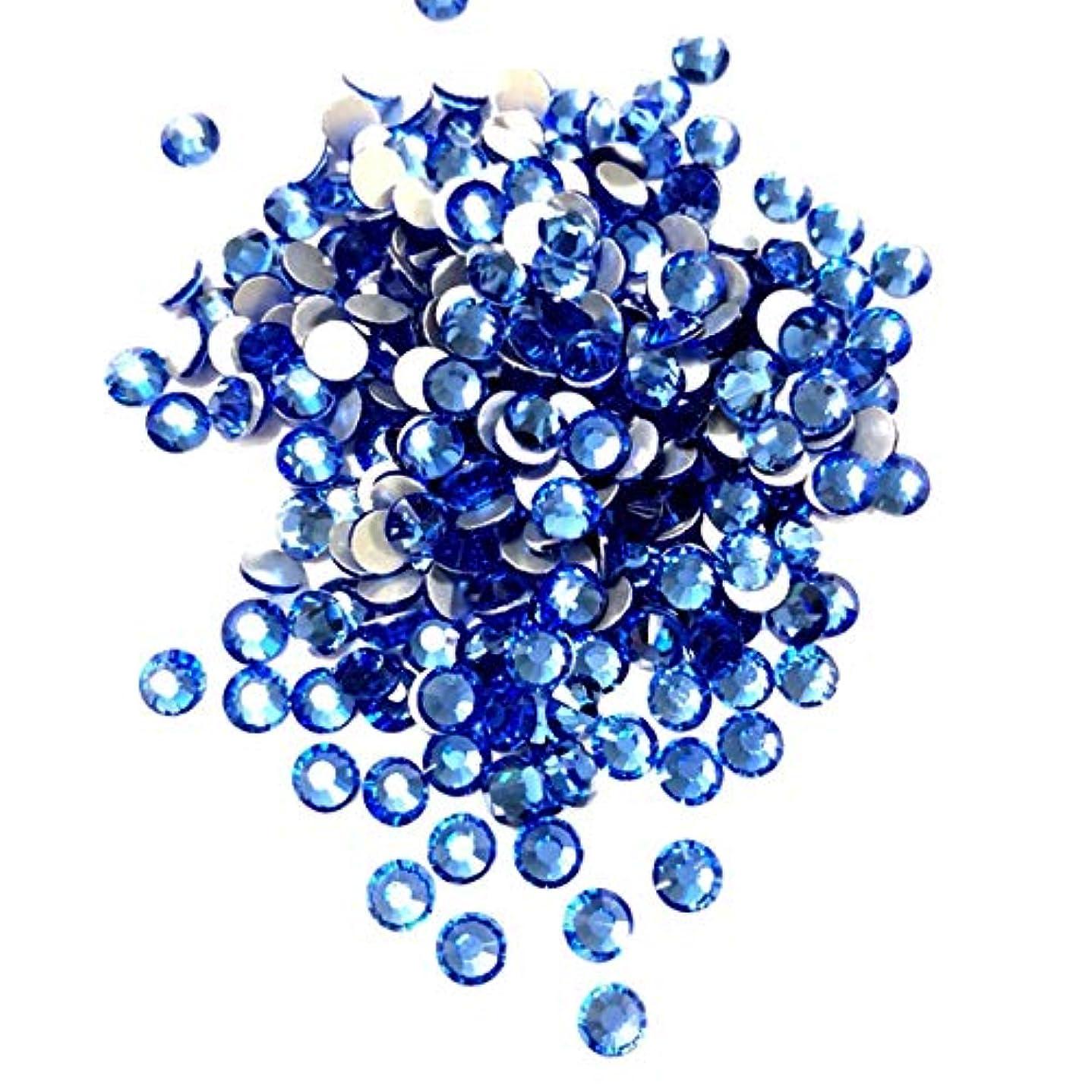 ランクホスト村【ネイルウーマン】最高品質ガラスストーン!スワロ同等の輝き! ライトサファイア ブルー 水色 (約100粒入り) (ライトサファイア) (SS5, ライトサファイア)