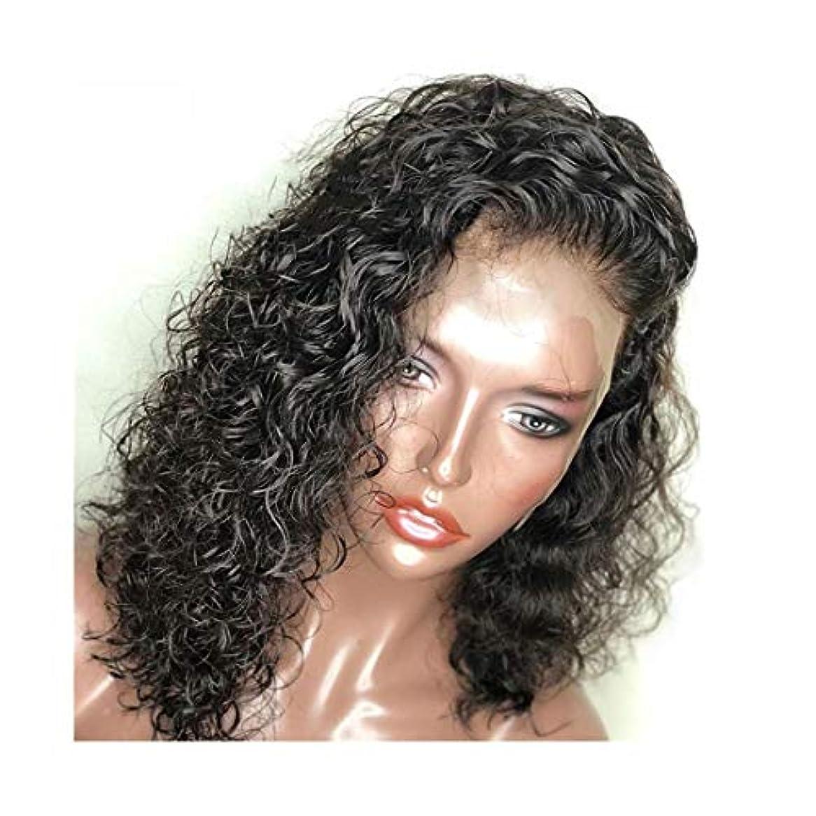 化学者リードモットーYOUQIU 1パック黒ショートヘアウィッグ、レディースセクシーカーリーヘアフロントレースケミカルショートカーリーヘアウィッグウィッグ (色 : 写真の通り)