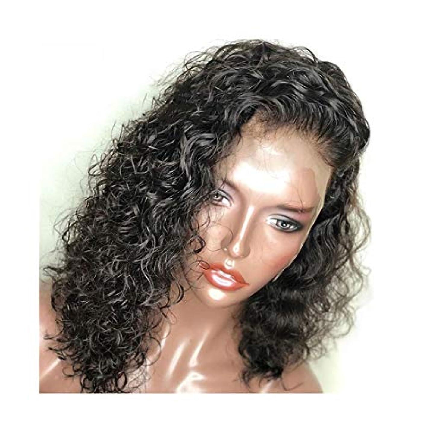 契約した植物学恥ずかしさYOUQIU 1パック黒ショートヘアウィッグ、レディースセクシーカーリーヘアフロントレースケミカルショートカーリーヘアウィッグウィッグ (色 : 写真の通り)