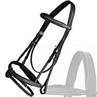 Royal Full Padded Anatomic Head Piece Bridle with U Shaped Detachable Flash & Reins./ Vegetable Tanned Leather./ Stainless Steel Buckles.