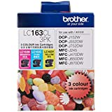 Brother LC163CL 3PK Original Ink Cartridge Compatible with DCP/MFC Series, 600 Pages, Cyan/Yellow/Magenta (Set of 3)