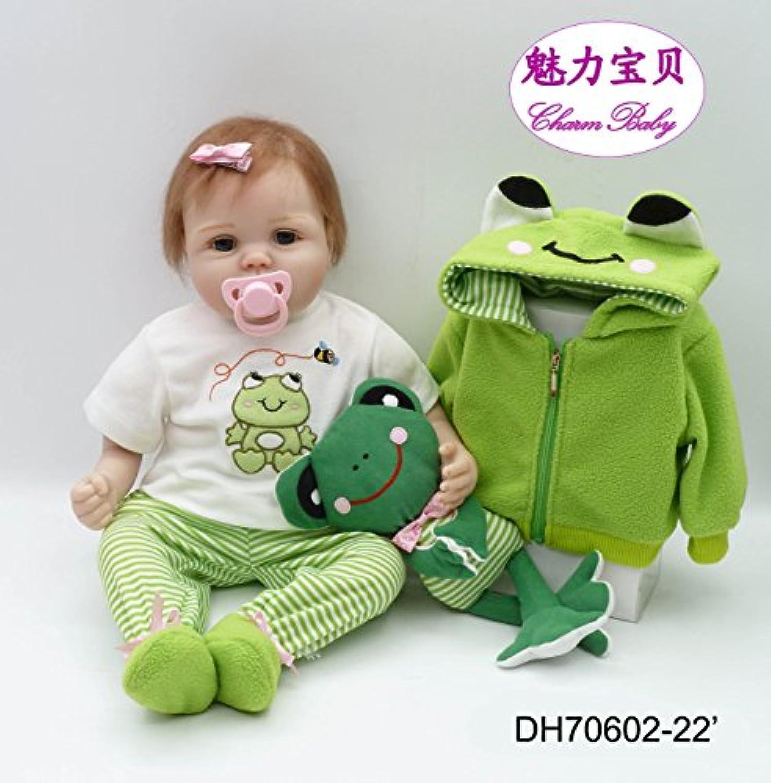 チャームベビー22インチ/ 55 cmソフトビニールシリコンヘッド&手足、ソフトボディグリーンReborn Baby Girl Realistic Looking Newborn Doll with磁気口& A Frogおもちゃ
